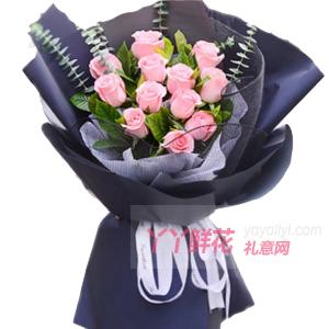 牽掛-11朵戴安娜玫瑰尤加利葉梔子葉