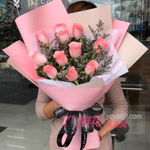 订花11朵粉玫瑰配小熊