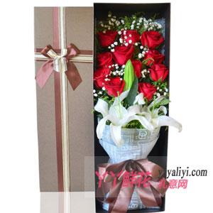 真诚祝福-11朵红玫瑰3朵粉百合礼盒