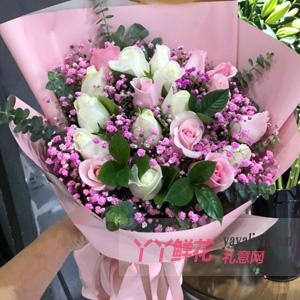 通州10朵白玫瑰9朵粉佳人