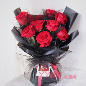 網站訂花11朵紅玫瑰黑色...