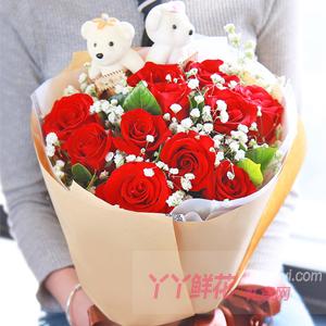 11朵红玫瑰2小熊满天星...