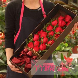鲜花速递19朵红玫瑰礼盒