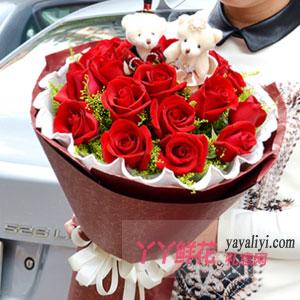 七夕節19朵紅玫瑰2小熊
