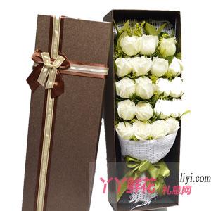 19枝白玫瑰搭配黄莺(咖色礼盒)