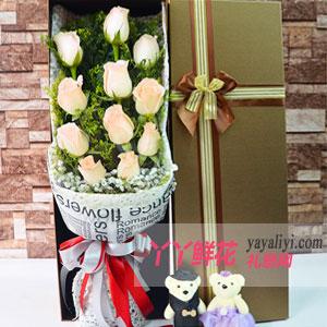 夢中情人-11朵香檳玫瑰2小熊方形禮盒