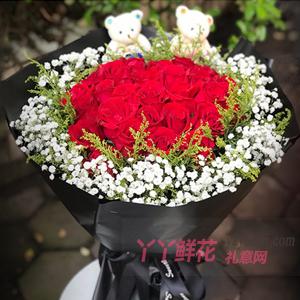 真愛相隨-33朵紅玫瑰適量滿天星送2只小熊