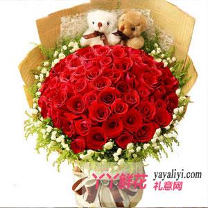 订花33朵红玫瑰2只小熊