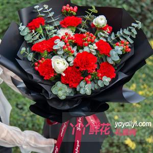 11枝紅色康乃馨搭配洋牡丹紅豆尤加利葉