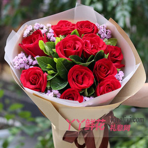 陪伴:11朵红玫瑰粉色勿忘我