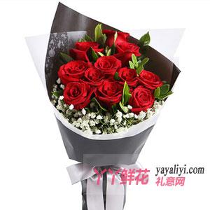 相愛一生-11朵紅玫瑰黑色款