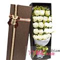 19枝白玫瑰搭配黃鶯(咖色禮盒)