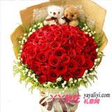 訂花33朵紅玫瑰2只小熊