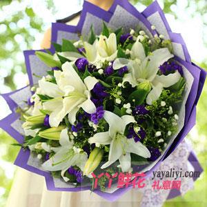 鲜花6朵白色多头百合