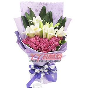 紫色浪漫-鮮花免費配送22枝紫玫瑰4枝多頭鐵炮百合