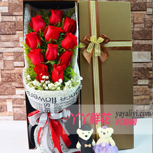 你是我的天使-鲜花11朵红玫瑰2小熊方形礼盒