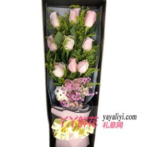 第一次送花给女孩子送11朵戴安娜玫瑰2小熊礼盒