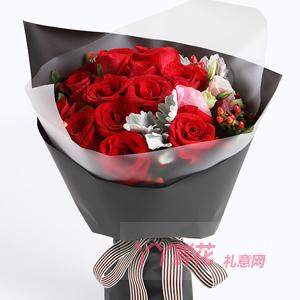 16朵紅玫瑰2枝多頭白香...