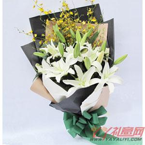 鲜花6朵白香水百合节日送花