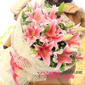 粉色浪漫-6枝多头香水百合