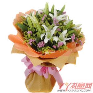 心动的感觉-鲜花5朵白香水百合在线送花