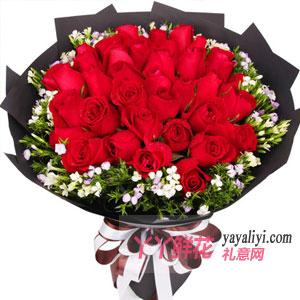 33朵紅玫瑰搭配相思梅