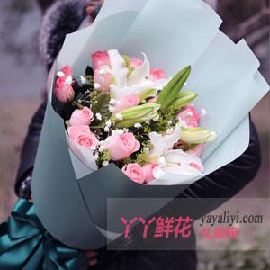 愛相隨-19朵粉玫瑰6朵百合