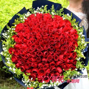 爱你百分百-鲜花99朵红玫瑰网上订花