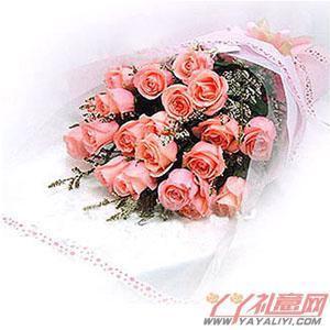 鲜花速递18朵粉色玫瑰鲜花