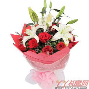 16朵紅玫瑰2朵多頭白香...