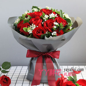 鮮花19枝紅玫瑰配相思梅梔子葉
