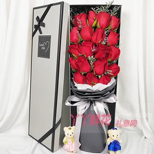 19朵红玫瑰灰色包装礼盒2只小熊