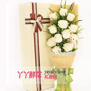 第一次送花给女孩子送11朵白玫瑰1小熊
