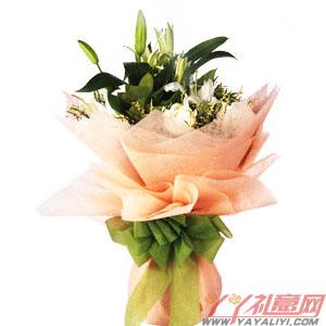 白月光-鮮花11朵白玫瑰2枝多頭百合