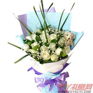 19枝白玫瑰1只五寸小熊...