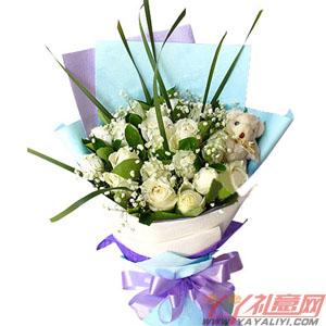 与你在一起-19枝白玫瑰1只五寸小熊情人节送花