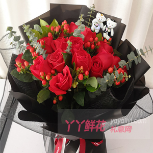 鲜花19枝红玫瑰5寸小熊...