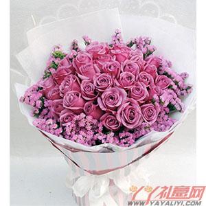 紫色恋曲-鲜花33枝紫玫瑰
