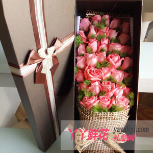 擁抱幸福-送老婆33枝粉玫瑰高檔禮盒