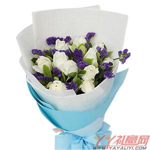 纯纯的爱-鲜花11枝白玫瑰