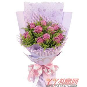 鮮花10枝紫玫瑰