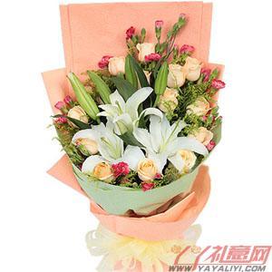 鲜花16枝香槟玫瑰2枝百合