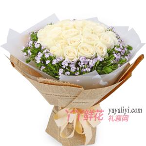 33朵白玫瑰外围白色相思...