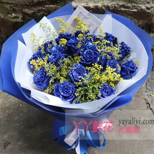 女朋友過生日送19朵藍色妖姬搭配黃鶯