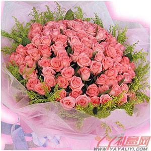 爱的罗曼史-鲜花99枝顶级粉玫瑰鲜花速递