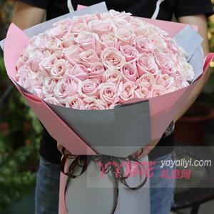 心里只有你-99朵粉红雪山玫瑰