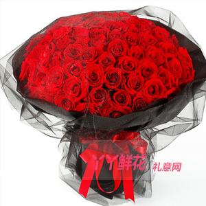 一百天紀念日送99朵紅玫瑰黑色牛皮紙黑紗包裹