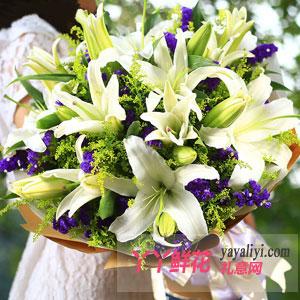生日鲜花18朵白百合预订