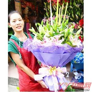 純美天使-鮮花10枝粉色多頭百合