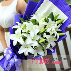白百合-鲜花12朵白百合预订